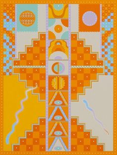 Milton Glaser | Light Tantra | A silkscreen done for the Rubin Museum based on a geometric tantra in a version that employs light tonalities. Measurements: 20