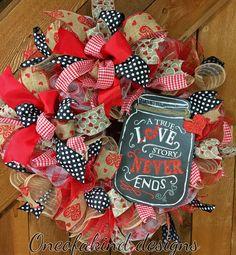 Valentine's Day deco mesh wreath