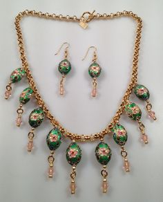 IBA Cloisonne Enamel Egg Fringed  Necklace and by InspiredByAmber, $98.00