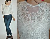 vintage 1970s Victorian 1900s Revival Sheer Lace Embroidered Blouse