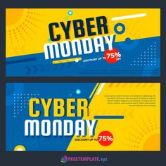 Colorful cyber monday banners with flat design Free Vector Web Banner Design, Banner Design Inspiration, Web Design, Flat Design, Surf Design, Web Banners, Graphic Design Brochure, Sports Graphic Design, Cyber Monday