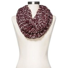 Women's Knit Infinity Snood Scarf with Shine - Burgundy