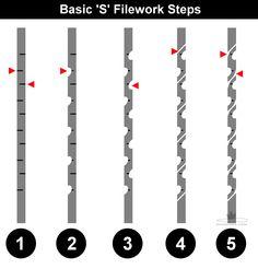 D.Comeau Custom Knives - DIY Knifemaker's Info Center: Basic Filework: S Pattern
