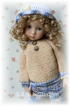 """R&M DOLLFASHION SALE OOAK hand-knit outfit - FALL LINE for Effner LD 13"""" doll"""