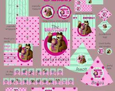 Masha y el oso fiesta Pack personalización by WildFairiesCraftShop   Etsy