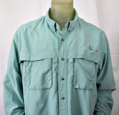 L.L. Bean Men's Tropicwear Blue Long Sleeve Vented Fishing Shirt XXL #LLBean #ButtonFront