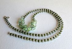 Green Jade Heshi Stones and Crystal Clear Quartz Rondelles, Handmade Jewelry, Semi Precious Stones, Ladies Necklace, Women's Accessory, Gift Etsy Jewelry, Jewelry Gifts, Handmade Jewelry, Handmade Gifts, Jewellery, Ladies Necklace, Pretty Necklaces, Clear Quartz, How To Make Beads