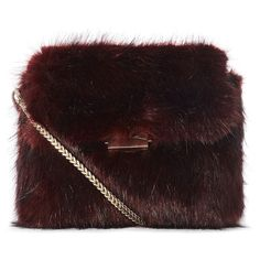 FAUX FUR CHAIN BAG ($195) ❤ liked on Polyvore featuring bags, handbags, clutches, purses, embellished handbags, chain handbags, long handbags, red clutches and red purse