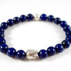 Bracelet perles lapis lazuli, perle ronde et tête bouddha en métal couleur argenté