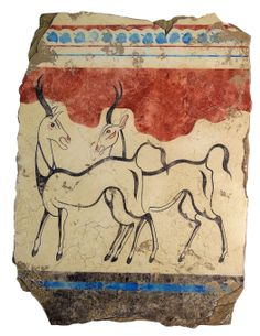 The Antelopes: From our Akrotiri Collection which features frescos from the ancient Minoan City of Akrotiri on the island Santorini. This fresco found in Room Beta1 is adjacent to the Boxing Boys. This pair of animals, which covers the west wall, was preserved in relatively good condition and was successfully restored.