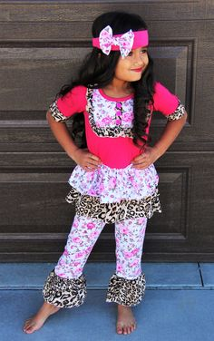 Cheetah Pink Floral Ruffle Boutique Set #boutique-outfits #new #perfect-sets
