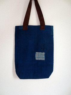 Vintage Indigo Boro Patched Tote Bag Brown Suede by Mujostore