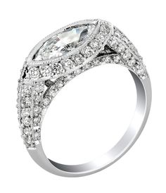 An ornate vintage style East-West Marquise Diamond Ring from Infinity Designs… Marquise Ring, Mom Ring, Jewelry For Her, Jewelry Rings, Pear Shaped Diamond, Fantasy Jewelry, Vintage Diamond, Beautiful Rings, Diamonds