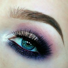 Gorgeous Pink & Purple Smokey Eye with Shimmery Eyeshadow and a White Pop of Color to Bring Out the Blue in Her Eyes  ♡♥♡♥♡♥ #beauty #EyeMakeup #SmokeyEye #eyeshadow #eyes