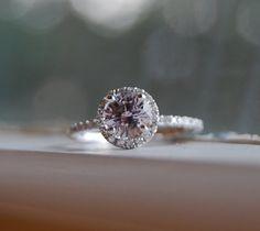 1ct round Lavender Purple sapphire diamond ring 14k white gold engagement ring