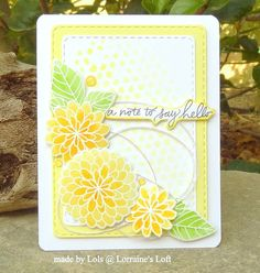 Lorraine's Loft: Simon Says Stamp                        SSS July Card Kit 2016; SSS Handwritten Floral Greetings; hello; yellow; soft; light effect