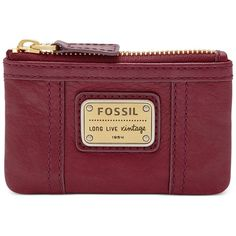 Fossil Coin Emory Leather Zip (220 SVC) ❤ liked on Polyvore featuring bags, wallets, maroon, fossil wallet, leather change purse, coin purse, leather zipper wallet and zipper wallet