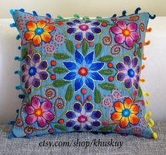 Pillow cushion cover Hand embroidered flowers Sheep & alpaca wool 16 x 16 handmade Light Blue Peruvian pillow