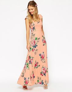 ASOS | ASOS WEDDING Maxi Tea Dress With Pleated Skirt In Rose Print at ASOS