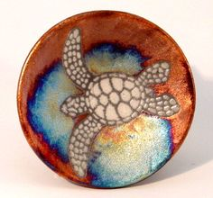Raku Plate-Sea Tutle-SM