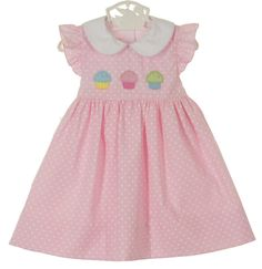 NEW Petit Bebe by Anavini Pink Dotted Dress with Appliqued Cupcakes $50.00