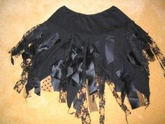 steampunk festival bustle Black green Tatty Skirt Halloween Party Pixie One size