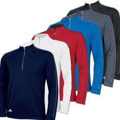 New Adidas 3 Stripe Piped Golf Pullover Shirt 2014 Mens