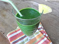 Pineapple Green Protein Smoothie gets its protein from pasteurized egg whites (and its ultra-green hue from two fistfuls of fresh spinach!)