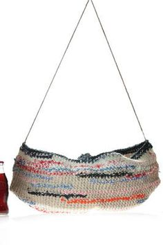 Daniela Gregis | crocheted bucket bag  in heavy multicolour cotton and linen | crocheted bucket bag  in heavy multicolour cotton and linen,  hold by hand and very thin cord shoulder strap, half-closed circles bottom l 51 x h 24 cm x d 22 cm | article code: 23719 | season: Spring/Summer | composition: 50% cotton - 50% linen