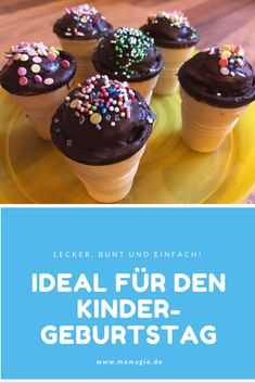 Ideal for children's birthday in kindergarten or school: muffins in a waffle cup - Funky Foods - kuchen kindergeburtstag School Cupcakes, Small Cake, Food Cakes, Tasty Dishes, No Bake Cake, Cooking Time, Finger Foods, Food Network Recipes, Holiday Recipes