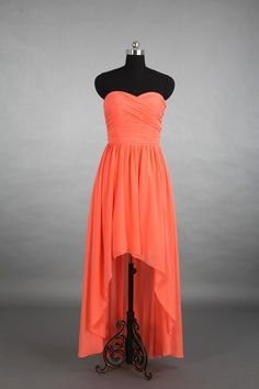 Coral High-Low Sweetheart Bridesmaid Dress, Asymmetrical Chiffon Bridesmaid Dress Dress With Ruffle