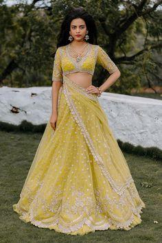 Yellow green lehenga set with silver glass beads embroidery - Anushree Reddy Net Lehenga, Bridal Lehenga, Lehenga Choli, Sarees, Sabyasachi, Indian Dresses, Indian Outfits, Bollywood, Yellow Lehenga