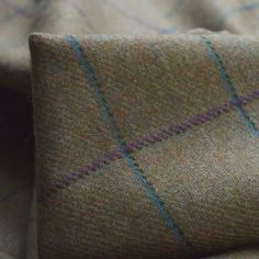 Another superb wool cloth woven up the road in Yorkshire, a just wonderful softly finished twill woven jacket cloth in shades of mustard and lovat green with an outline over check in purple, turquoise and dark green, quite bold but beautiful. Plaid Fabric, Wool Fabric, Knitted Fabric, Kilt Accessories, Scottish Kilts, Tartan Pattern, Green Wool, Fabric Shop, Almost Always