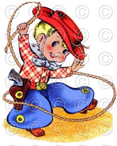 COWBOY -- Western Cowboy Vintage Digital Image Illustration (Style 1). $2.95, via Etsy.