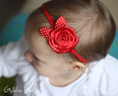 Etsy-Baby Headbands  Red Rose With Polka Dot Leaves by GoldenBeam, £5.00