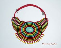african ethinic beaded jewelry fashion | , Bead Embroidered Necklace, African Necklace, African Bead Jewelry ...