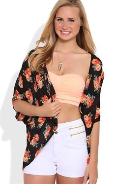 Deb Shops Short Sleeve #Kimono with Peach Floral Print $21.00