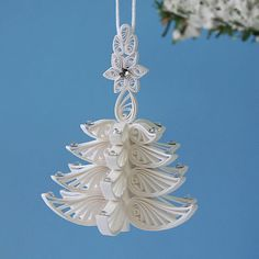 Christmas-Tree Ornament A Wonderful Quilled / Filigree White