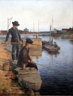 Boys angling_Pojat ongella 1890 - Hugo Backmansson_Finnish, 1860-1953