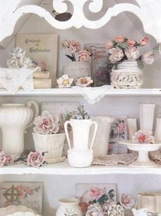 soft pinks, victorian whites delicate cabinet
