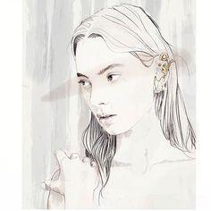 Experimenting on Adobe Sketch and inspired by beautiful @rodarte  #sketch #drawing #ipaddrawing #ipadart #adobesketch #procreateapp #illustration #fashionillustrator #fashion #style #rodarte #jewelry #beauty #feminine #portrait #model #face #love #amypearsondesign