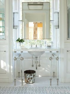 Lucite, chrome, white, mirror in front of window...ugh amazing. Chapman Interiors Blog