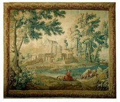 Manufacture royage d' Aubusson. Fine tapisserie en laine et soie vers