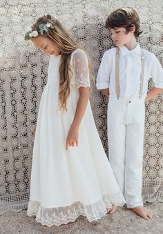 Bohemian long dress Girl and Baby Ceremony and Wedding - ROBES Wedding Page Boys, Wedding Dresses For Kids, Wedding With Kids, Dress Wedding, First Communion Dresses, Boys First Communion Outfit, Girls Baptism Dress, Girls Dresses, Flower Girl Dresses