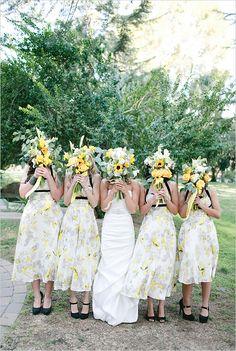 yellow and black bridesmaid dresses BHLDN