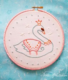 Free Swan Princess embroidery pattern, courtesy of Doodle Stitching