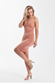Sexy ruched strappy mini bodycon dress in nude copper Sexy Party Dress, Sexy Dresses, Party Playlist, Nude Color, Cami, Wrap Dress, Copper, Bodycon Dress, Culture