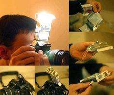 Efeitos de fotografia profissional usando papelão, caixa de cigarro, binóculo e até timer de cozinha