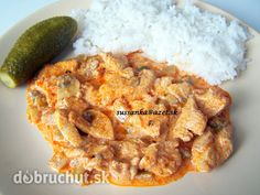 Kuracie na spôsob stroganov - rýchly a chutný obed Family Meals, Macaroni And Cheese, Recipies, Food And Drink, Rice, Cooking Recipes, Chicken, Meat, Ethnic Recipes
