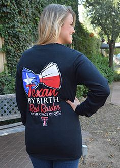 Texas Pride Bow Black Long Sleeve Tee - Red Raider Outfitter